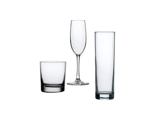 tumbler, highball and champagne flute glasses
